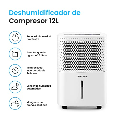 Pro Breeze Deshumidificador 12L/día con Pantalla LED,...