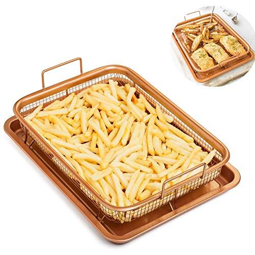 2-In-1 Kupfer Crisper Tray, Antihaft-Ofen Backblech Mit Erhöhten Mesh Crisping Grillkorb