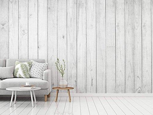 Fototapete Wallpaper Wand Weisses Holz| Verschiedene Maße 350x250 cm | Dekor Esszimmer, Wohnzimmer, Zimmer … Elegantes Design Landschaftsmotive