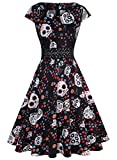 OWIN Women's Vintage Dress Cap Sleeve Casual Floral Flared A Line Swing Cocktail Party Dress with Pockets