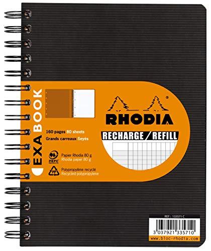 Rhodia 133571C Nachfüllung (für Exabook, DIN A5+, 80 Blatt, französische Lineatur) 1 Stück, Weiß