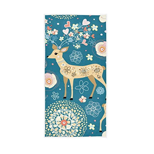 S Husky Cute Deer Flowers Hand Bath Towel Colorful Pattern Quick-Dry Highly Absorbent Soft Face Towel for Bathroom Kitchen Gym Yoga 30 x 15 inches 2040503