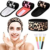 3 Pieces Spa Headband Makeup Shower Bath Hair Band Wrap and 3 Pieces Silicone Face Brushes Leopard Sport Facial Headband Towel with Tape for Face Washing, Shower, Sport
