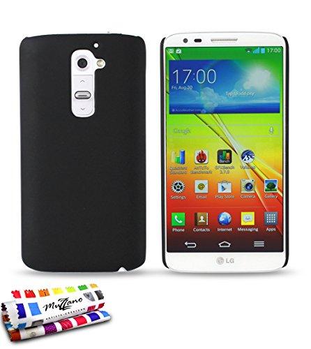 Ultraplatte harde beschermhoes LG OPTIMUS G2 [Le Pearls Premium] [zwart] van MUZZANO + stift en microvezeldoek MUZZANO® GRATIS - De ultieme en duurzame beschermhoes voor uw LG OPTIMUS G2