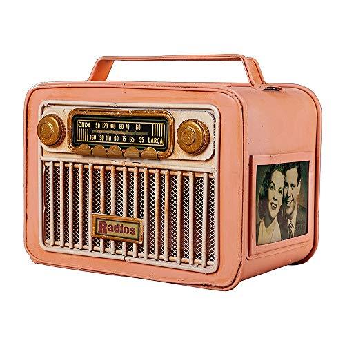 TXOZ -Q Tissue Box Retro Radio, tela de hierro, soporte de papel de tela de almacenamiento para dormitorio, tocador, noche, escritorio y mesas, decoración del hogar (color: rosa)