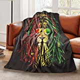 LELEMATE Jamaica Reggae Rasta Lion Sunglass Throw Blanket Soft Lightweight Flannel Blanket Fuzzy Sofa Fleece Blanket for Use in Bed Living Room Home Beachh Couch Travel 50'x40' for Kid Baby