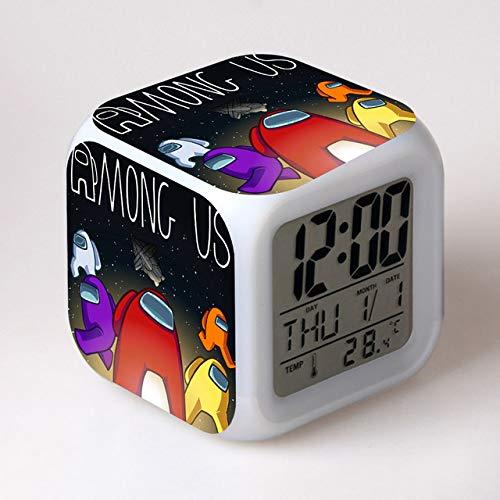 XKUN Reloj despertador de anime que cambia los colores de la impresión linda de la historieta LED reloj de los estudiantes, estilo 5