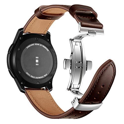 Myada Compatibel met armband Gear S3 Frontier leer, armband voor Samsung Galaxy Watch 46 mm lederen armband smartwatch armband 22 mm armbanden Gear S3 Classic lederen reserveband Galaxy Watch sportarmband
