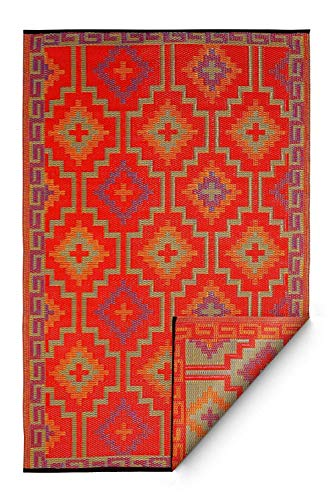 Fab Habitat Lhasa Indoor/Outdoor Rug, Orange & Violet, (6' x 9')