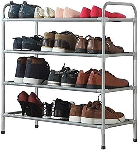 Estante de zapatos Sencillo familia y los zapatos prácticos Titular de la zapata de zapatos cremallera vertical Caja de almacenamiento de 4 capas de hierro familiares robusto y resistente a los zapato
