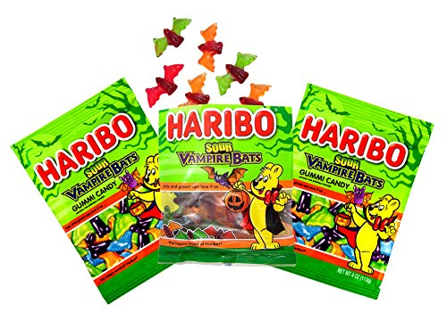 Haribo Fruit Flavored Sour Vampire Bats Halloween Gummy Candy, 3 Pack, 4 oz Bag