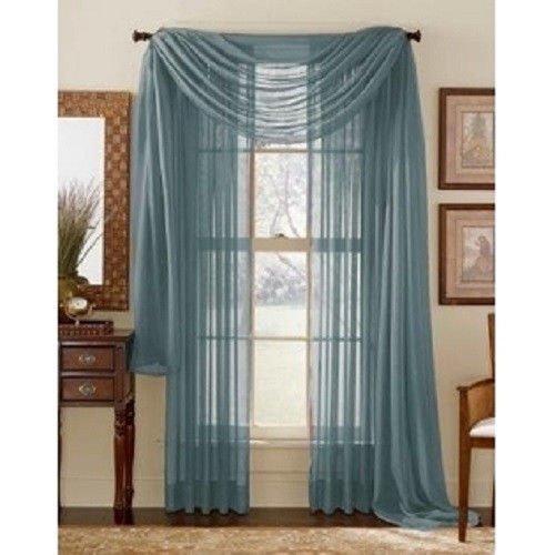 "GorgeousHomeLinen 3PC Slate Blue 2 Sheers 84"" Length Rod Pocket Window Curtain Panels & 1 Elegant Swag Scarf Valance 216"" Length"