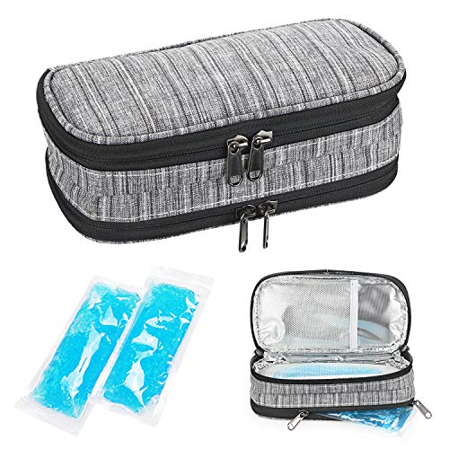 YOUSHARES Insulin Cooler Travel Case, Double Layer Handy Medication Insulated Diabetic Carrying Cooling Bag for Insulin Pen, Glucose Meter and Diabetic Supplies with 2 Cooler Ice Pack (Grey)
