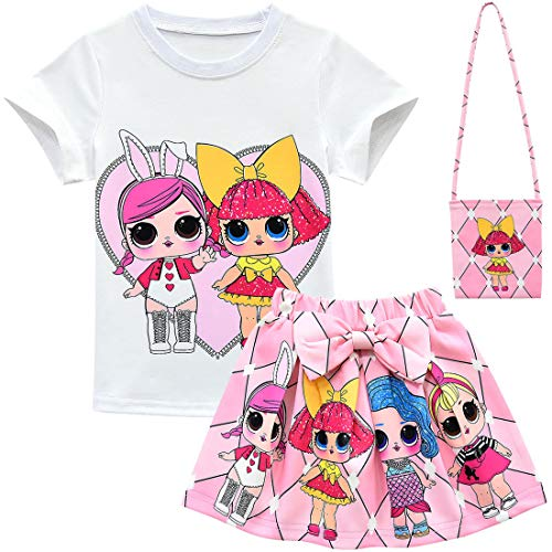 Dgfstm Baby Cute Dolls Confetti Pop Tshirt + Skirt + Bag for Girls Lil Outrageous Little Girl Clothes (style7, 120(4-5years))