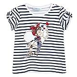Mayoral 3.010 - Camiseta de verano para niña (con apertura en los hombros y lazos), diseño de rayas, color azul marino y blanco azul oscuro 4 años