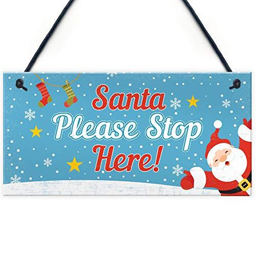 RED OCEAN Christmas Santa Stop Here Hanging Kids...