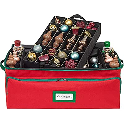 Premium Christmas Ornament Storage Box - Hold Up to 72-3 Inch Ornaments, Holiday Decoration Organizer - Quality 600D Canvas for Extra Durability with Side Slots for Long Ornaments, Decor & Candles
