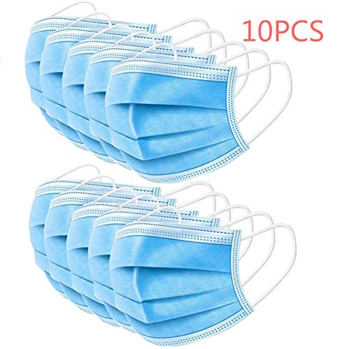 Maschere Monouso, Mascherina Chirurgica Chirurgico Ear Loop 3 strati, per Pline/Fumo/Polvere e Salute della Persona, Maschere Più Spesse, Traspiranti, per Uso Domestico/Ufficio, 10 pezzi