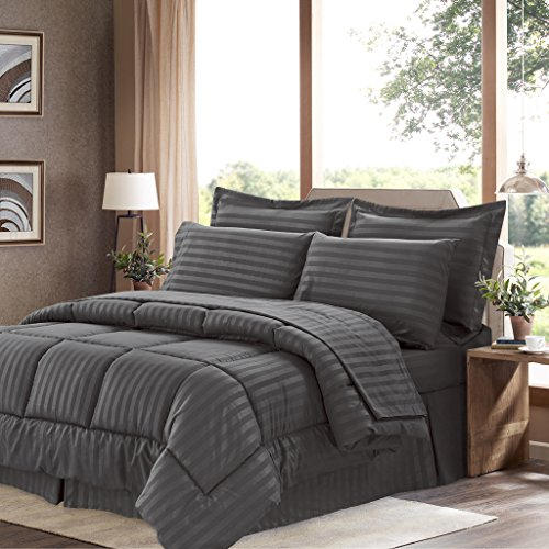 Sweet Home Collection 8 Piece Bed In A Bag with Dobby Stripe Comforter, Sheet Set, Bed Skirt, and Sham Set - Queen - Gray