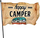 Oaqueen Flagge/Fahne Happy Camper Camping Home Flag Large 3 X 5 Ft Vertical Outdoor House Decor Yard Celebration Procession Festival Flag