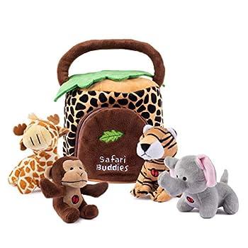 Plush Creations Plush Jungle Animals Toy Set Includes 4 Talking Soft Safari Animals A Plush Elephant Plush Monkey Plush Giraffe Plush Tiger With A Plush Jungle House Carrier Great For Boys And Girls