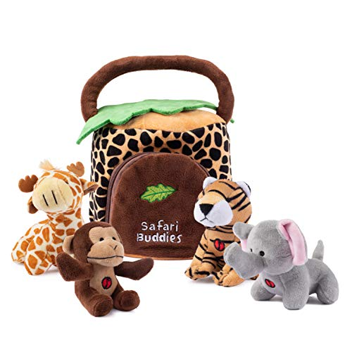 Plush Creations Plush Jungle Animals Toy Set, Includes 4 Talking Soft Safari Animals A Plush Elephant Plush Monkey Plush Giraffe Plush Tiger With A Plush Jungle House Carrier Great For Boys And Girls