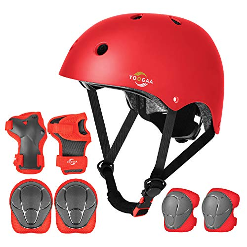 Save %7 Now! YOOGAA Kids Adjustable Helmet and Protective Gear Set for Kids 3-8, Toddler and Kids Bi...