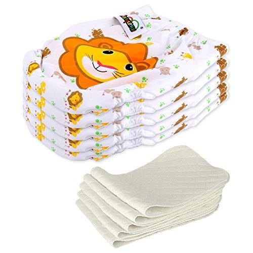 5 Stck Wiederverwendbare Waschbare Verstellbar Babywindeln Baby Windelhose Baby-Tuch-Windel Weicher Stoff Gre Verstellbar (Lwe)