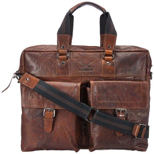 Sansibar Unisex-Erwachsene Zonda Messengertaschen, Braun (Cognac), 41x33x14 cm