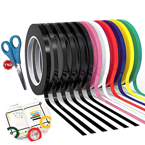 12 Pack Graphic Art Thin Tape 1/8 Inch Wide X 216 Ft Long,Self-Adhesive Whiteboards Dry Erase Line Gridding Tape (Multicolor)