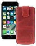 Suncase Etui Tasche kompatibel mit Apple iPhone SE 2 (2020) mit ZUSÄTZLICHER Hülle/Schale/Bumper/Silikon *Lasche mit Rückzugfunktion* Handytasche Ledertasche Schutzhülle Hülle in antik-rot