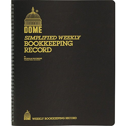 Dome Weekly Bookkeeping Record Book, 11in. x 9in., Brown