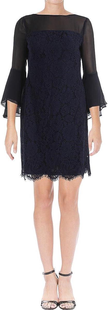 Lauren by Ralph Lauren Women's Floral Lace Bell-Sleeve Dress