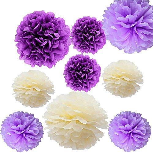 Cideros 9pcs Tissue Paper Pom Poms Flower Ball Home Outdoor Wedding Christmas Xmas Decorations Kit – Size 10Inch 14 Inch, Light Purple, Deep Purple, Light yellow