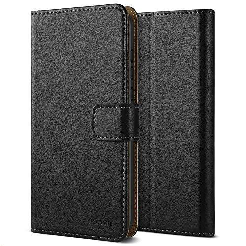 HOOMIL Handyhülle für Huawei P20 Hülle, Premium PU Leder Flip Schutzhülle für Huawei P20 Tasche, Schwarz