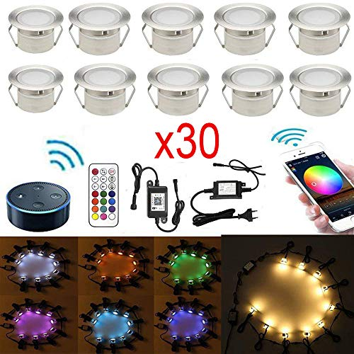 30er RGBWW LED Bodeneinbauleuchten Arbeitet mit Alexa, Google Home,RGBWW (4 in 1) Ø45mm IP67 Wasserdicht 1.2W LED Einbaustrahler Full Kit