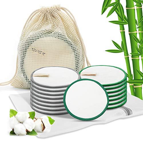 AJOXEL Discos Desmaquillantes Reutilizables, 16Pcs Almohadillas Desmaquillantes Reutilizables con Bolsa de Lavado y Bolsa de Almacenar, Hechos en Bambú, Removedor De Maquillaje De Ojos