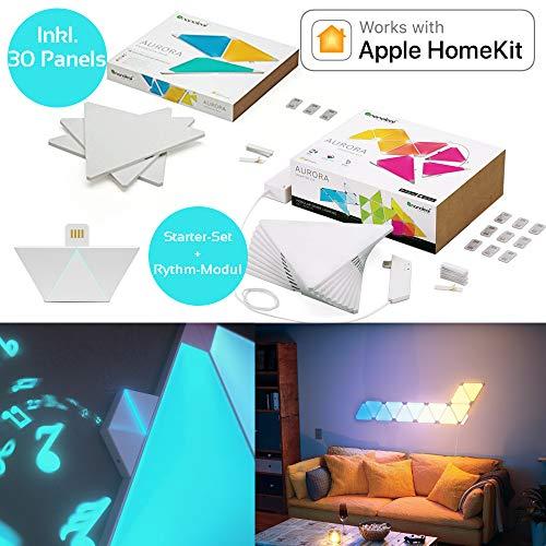nanoleaf Aurora & Rhythm Starter Kit LED RGBW Farbwechsel-Panel und Sound-Modul 30er Set | App-Steuerung | 16 Millionen Farben | Kompatibel mit amazon Apple HomeKit & Android