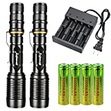 Skywolfeye 2 Packs High 4000 Lumens 18650 Led Flashlight Torch with 4Pcs 3.7v High Capacity Rechargeable Battery&1Pcs 4 Bays Charger, Bright Adjustable Focus and 5 Modes for Camping Hiking