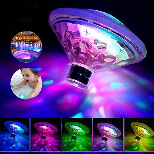 TuiPong LED Pool Beleuchtung Unterwasser Licht mit RGB und 7 Modi Disco Beleuchtung Licht Show für schwimmende Poolbeleuchtung für Teich Pool Spa Whirlpool (Batterie Nicht Enthalten)