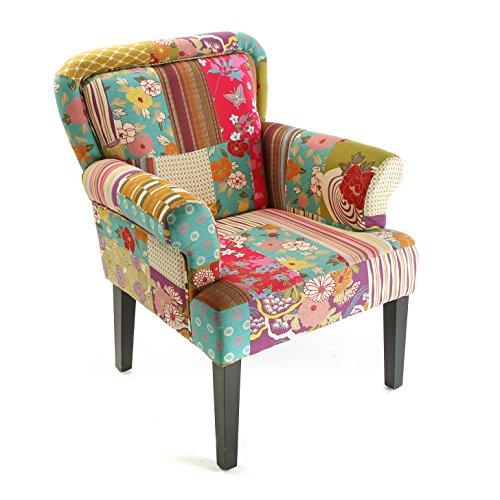 Versa Pink patchwork Sillón orejero tapizado con reposabrazos Butaca con Botones, Madera/algodón, Rosa, verde, azul, beige y morado, 89 x 71 x 72 cm
