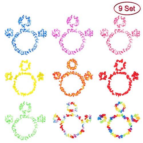 Twister.CK 9 Set 36 PCS?Hawaiian Lei Flower Garland, Flower Leis Costume Set Bracelets, Headband, Necklace for Party Favors