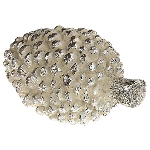 MACOSA Weihnachts-Deko Tannenzapfen weiß grau Silber glitzernd 15 cm Weihnachtsdeko Christbaum Adventskranz Türkranz Dekoration Weihnachten Fenster Adventsdeko