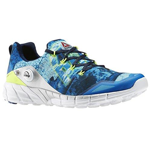 Reebok Zpump Fusion 2.0 Dunes, Zapatillas de Running para Hombre, Blanco/Negro/Azul/Amarillo (RNG Wht/Blk/El Blue/Mdngt BLU/SLR Yel/Co), 42 1/2 EU