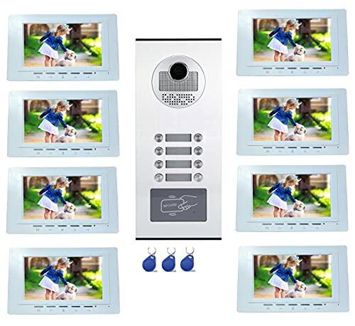 Interfono de vídeo a color para 8 viviendas y apartamentos con lector RFID