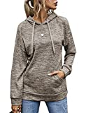 LOMON Fashion Drawstring Hoodies for Women Long Sleeve Active Pullover Tops,Khaki,L