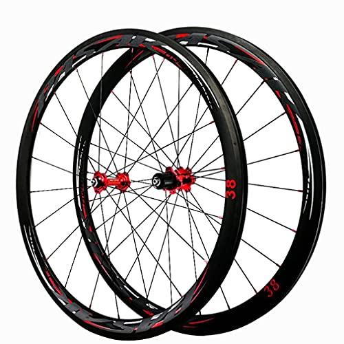 LSRRYD Carbon Fibre Juego Ruedas Bicicleta De Carretera 700C 38mm Llantas De Bicicleta Freno De C/V Rueda 29in 1480g 20/24H Buje Liberación Rápida para 7/8/9/10/11/12 Velocidades (Size : 700c 38mm)