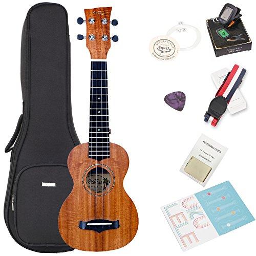 Koa Soprano ukulele Bundle with Bag and Tuner, Strap, Extra Aquila Strings, Polishing Cloth, 2 Pins Installed, Instructional Book, KUS-70 HANKEY