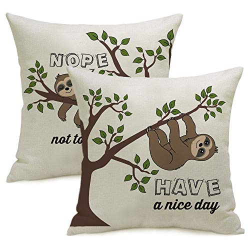 LOZACHE Lazy Sloth Nope Not Today Gifts Funny Have a Nice Day Home Decor Throw Pillow Case Cushion Cover for Couch Sofa Bed,18x18 inches, Set of 2
