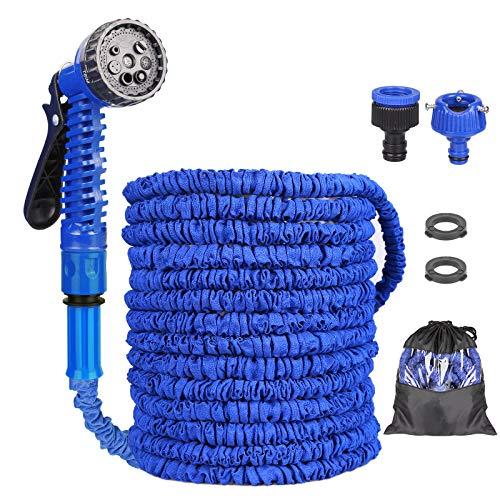 Manguera Extensible de Jardín, Manguera Jardin, Tubo de Manguera Mágica Expansible Flexible con Pistola Pulverizadora de 8 Funciones para Regar Flores, Lavado de Autos (50, Azul)